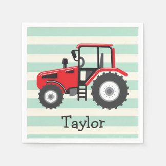 Red Farm Tractor Disposable Serviettes