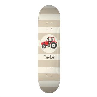 Red Farm Tractor on Tan Stripes 19.7 Cm Skateboard Deck