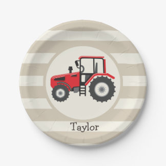 Red Farm Tractor on Tan Stripes 7 Inch Paper Plate