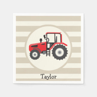 Red Farm Tractor on Tan Stripes Paper Napkin