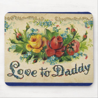 Red Father's Day, embossed, divided back flowers Mouse Pads