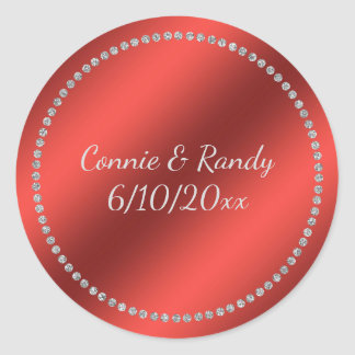 Red Faux Foil Wedding Sticker