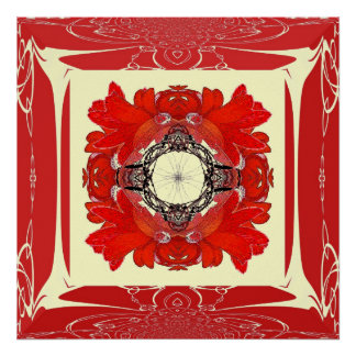 Red Faux Frame Fractal Flower Poster