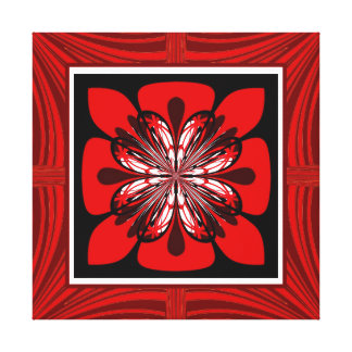 Red Faux Framed Fractal Flower Wrapped Canvas Stretched Canvas Print