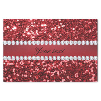 Red Faux Glitter and Diamonds Tissue Paper
