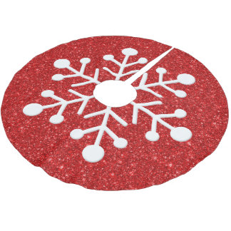 Red faux glitter background christmas tree skirt