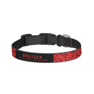 Red Faux Glitter Collar