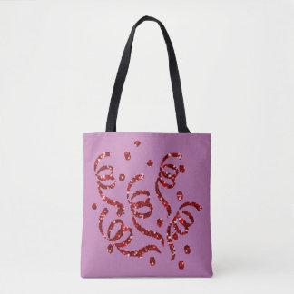 Red Faux Glitter Confetti Tote Bag