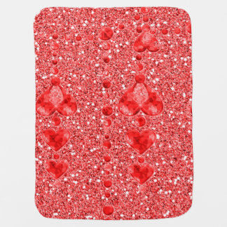 Red Faux Glitter & Heart Droplets Buggy Blanket