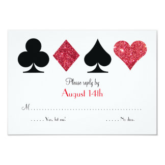Red Faux Glitter Las Vegas Wedding RSVP Reply Card