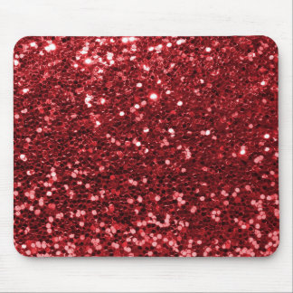 Red Faux Glitter Mouse Pad
