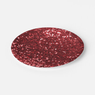 Red Faux Glitter Paper Plate