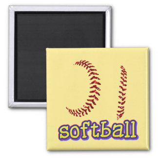 Red Faux Glitter Softball Stitches w/Softball Text Magnet