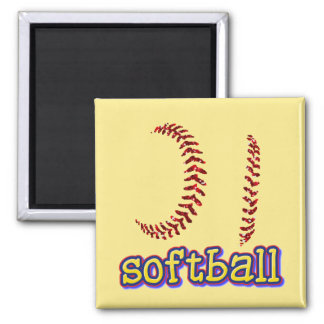 Red Faux Glitter Softball Stitches w/Softball Text Square Magnet