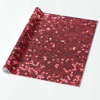 Red Faux Glitter Wrapping Paper