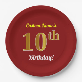 Red, Faux Gold 10th Birthday + Custom Name Paper Plate