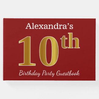 Red, Faux Gold 10th Birthday Party + Custom Name Guest Book