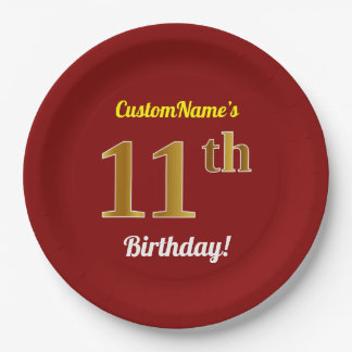 Red, Faux Gold 11th Birthday + Custom Name Paper Plate