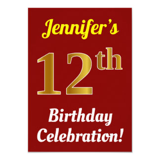 Red, Faux Gold 12th Birthday Celebration + Name Card