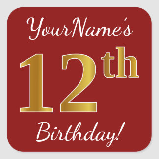 Red, Faux Gold 12th Birthday + Custom Name Sticker