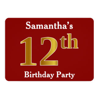 Red, Faux Gold 12th Birthday Party + Custom Name Card