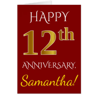 Red, Faux Gold 12th Wedding Anniversary + Name Card