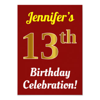 Red, Faux Gold 13th Birthday Celebration + Name Card