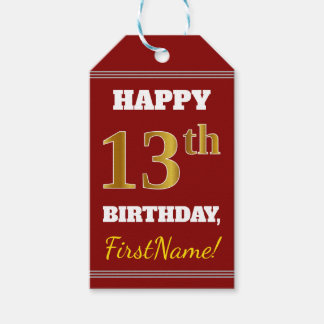 Red, Faux Gold 13th Birthday + Custom Name Gift Tags