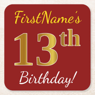Red, Faux Gold 13th Birthday + Custom Name Square Paper Coaster