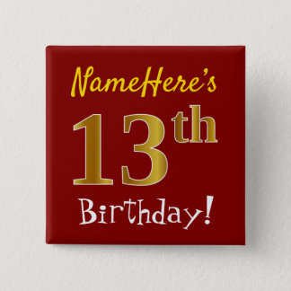 Red, Faux Gold 13th Birthday, With Custom Name 15 Cm Square Badge