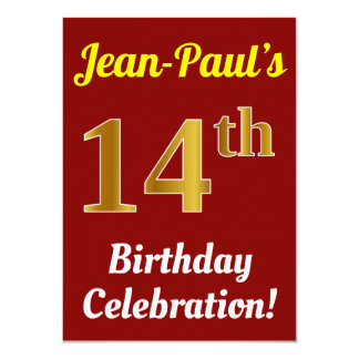 Red, Faux Gold 14th Birthday Celebration + Name Card
