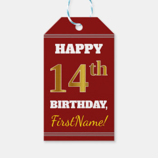 Red, Faux Gold 14th Birthday + Custom Name Gift Tags