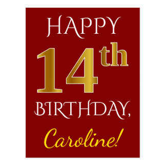 Red, Faux Gold 14th Birthday + Custom Name Postcard