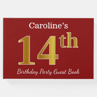 Red, Faux Gold 14th Birthday Party + Custom Name Guest Book