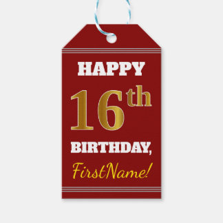 Red, Faux Gold 16th Birthday + Custom Name Gift Tags