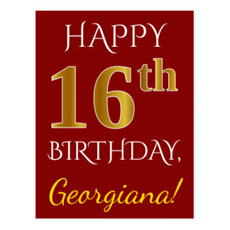 Red, Faux Gold 16th Birthday + Custom Name Postcard