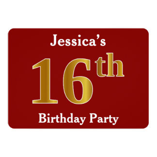Red, Faux Gold 16th Birthday Party + Custom Name Card