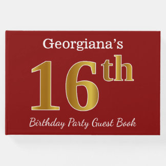 Red, Faux Gold 16th Birthday Party + Custom Name Guest Book