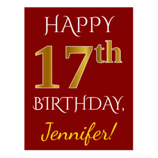 Red, Faux Gold 17th Birthday + Custom Name Postcard