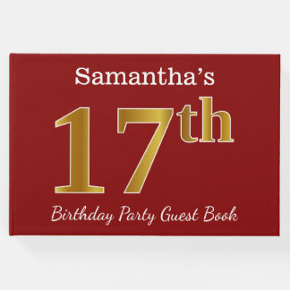 Red, Faux Gold 17th Birthday Party + Custom Name Guest Book