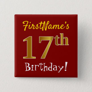 Red, Faux Gold 17th Birthday, With Custom Name 15 Cm Square Badge