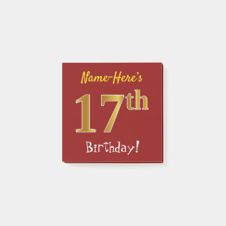 Red, Faux Gold 17th Birthday, With Custom Name Post-it Notes