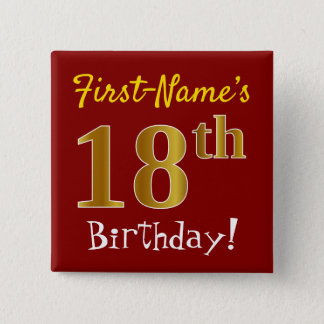 Red, Faux Gold 18th Birthday, With Custom Name 15 Cm Square Badge