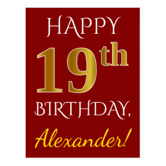 Red, Faux Gold 19th Birthday + Custom Name Postcard