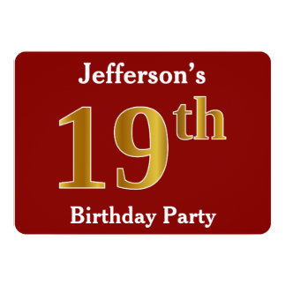 Red, Faux Gold 19th Birthday Party + Custom Name Card