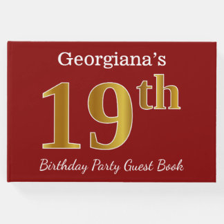 Red, Faux Gold 19th Birthday Party + Custom Name Guest Book