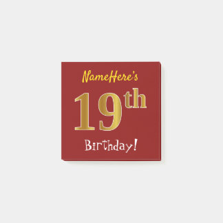 Red, Faux Gold 19th Birthday, With Custom Name Post-it Notes