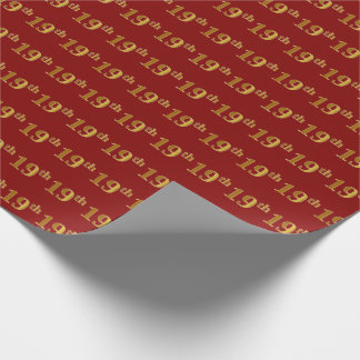Red, Faux Gold 19th (Nineteenth) Event Wrapping Paper