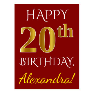 Red, Faux Gold 20th Birthday + Custom Name Postcard