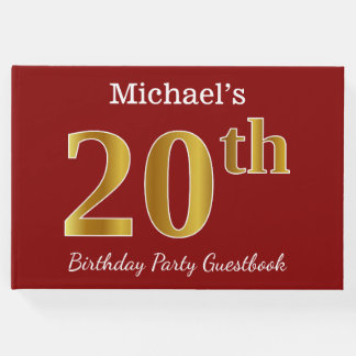 Red, Faux Gold 20th Birthday Party + Custom Name Guest Book